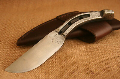 Hand Forged Horseshoe Pony Shoe Hunting Knife w/ leather sheath made in USA