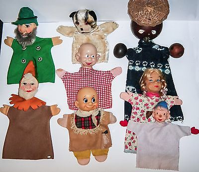 """CLEARANCE SALE Group of 8 Hand Puppets BULLY DISNEY KERSA FLEXOLIT 9"""" TO 18"""""""