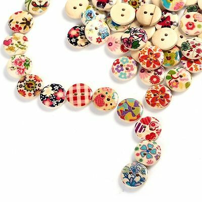 Cute Round Random Pattern 2Holes Wood Buttons Sewing Scrapbooking 10/30/50/100pc