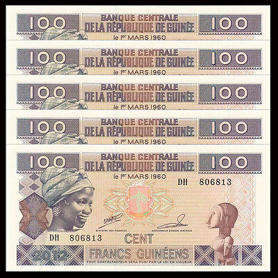 Lot 5 PCS, Guinea 100 Francs, 2012, P-35b, UNC