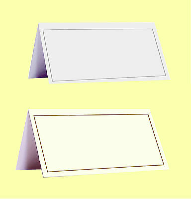 Pack of 50 Wedding Place Name Cards White & Silver, Ivory & Gold, Kraft Paper