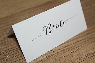 Personalised Vintage Calligraphy Wedding Place Name Cards Handmade