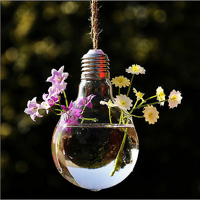 1X Hanging Glass Planter Flower Plant Vase Bulb Shaped Hydroponic Container