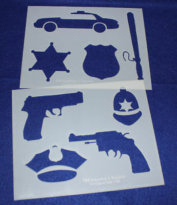 2 -Mylar 14 Mil Police Department Stencils  Painting/Crafts/Stencil/Template