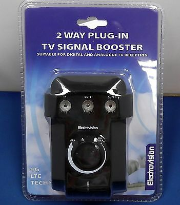 Plug In Tv Radio Aerial Signal 2 Way Dab  Booster Digital Amplifier Home Caravan