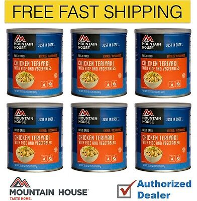 New Mountain House Chicken Teriyaki Freeze Dried Emergency Food Supply 6 cans
