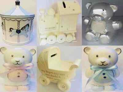 Silver Plated Birth Christening Gift Present Baby Boy Girl Keepsake Money Box
