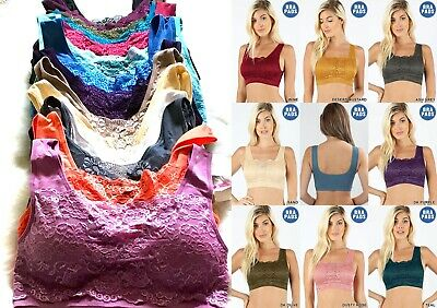 Women's Sports Bras 3 OR 6 Yoga Active Wear Workout LACE Bra Seamless TOP S-XL