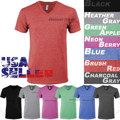 9bc2ef9da368 Tri Blend V Neck T Shirt Short Sleeve Slim Fit Casual Plain Tee Shirts Top  Mens