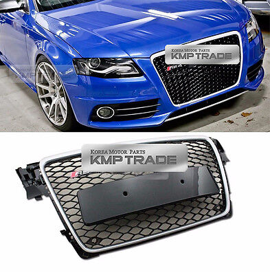 RS4 Style Chrome Frame Grille Mesh Ring Chrome Emblem for AUDI 2009-2012 A4 / B8