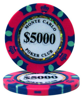 50 Pink $5000 Monte Carlo 14g Clay Poker Chips New - Buy 2, Get 1 Free
