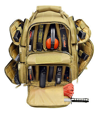 Ultimate Deluxe Tactical Pistol TAN Range Backpack Polyester 600 D Heavy Duty