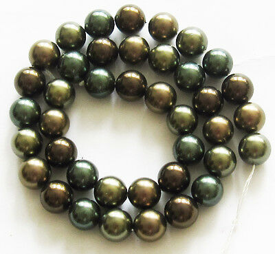 "SOUTH SEA SHELL PEARLS 10mm Round Loose Beads 16"" Strand Brown Olive Green SS1"