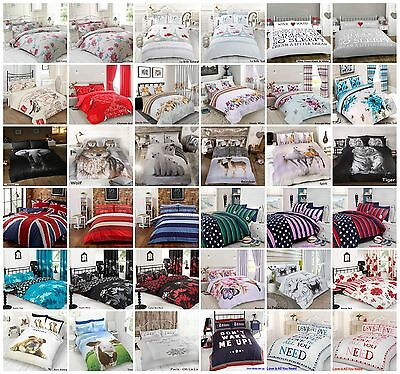 Duvet Cover with Pillowcase Quilt Cover Bedding Set Single Double King All Sizes