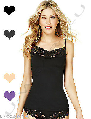 Ladies Marks & Spencer Lace Detail Vest Cami Black White Bow M&s