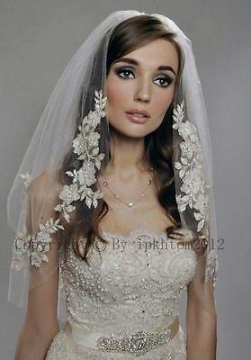 2 Layer Wedding Elbow Length Lace Applique Veil with Beads Wedding Bridal Veil