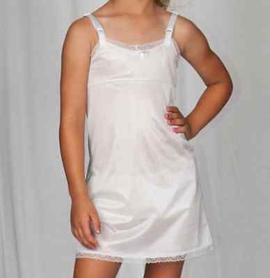 Girls Full Straight Slip Nylon Empire Waist Knee Length 4-14 USA Adjusts USA