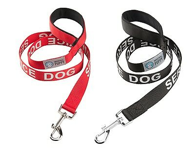 Service Dog LEASH w/ Neoprene Handle & Reflective Lettering, by Industrial Puppy