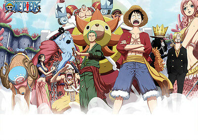 STICKER AUTOCOLLANT POSTER A4 MANGA ONE PIECE.TEAM LUFFY EQUIPAGE STRONG WORLD.
