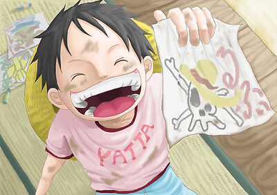 STICKER AUTOCOLLANT POSTER A4 MANGA ONE PIECE.LUFFY CHAPEAU DE PAILLE SOURIRE..