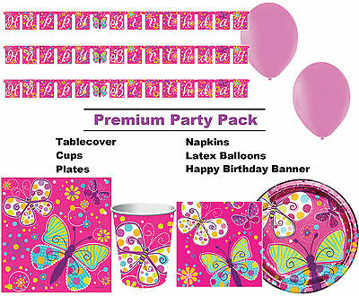 Butterfly Sparkle 8-48 Guest Premium Party Pack - Tableware | Banner | Balloons