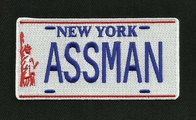 Cosmo Kramer's Impala NY ASSMAN License Plate Iron-On Patch  SEINFELD