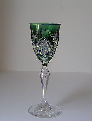 Val ST Lambert / ABP Emerald Green Cased Cut to Clear Crystal Wine Goblet Glass