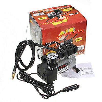 Portable DC 12V Mini Metal Pump Heavy Duty Air Compressor Tire Inflator Gauge