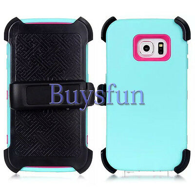 Belt Clip Holster + Rugged Blue Hot Pink Cover Case For Samsung Galaxy S6 Edge