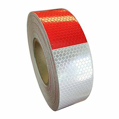 "2""x150' DOT-C2 Reflective Safety Warning Tape Sticker Red White Honeycomb"