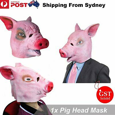 Pig Head Mask Creepy Animal Halloween Costume Theater Prop Latex Novelty Toys