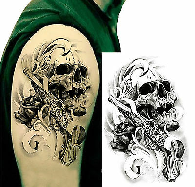 Flash Tattoo Fake Tattoo  Scull and Gun wasserfest Waterproof (HB-058)