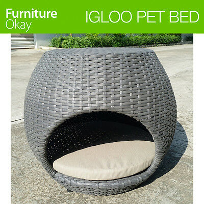 High Quality Waterproof PE Wicker Dog Puppy Cat Pet Bed House with Pad Cushion