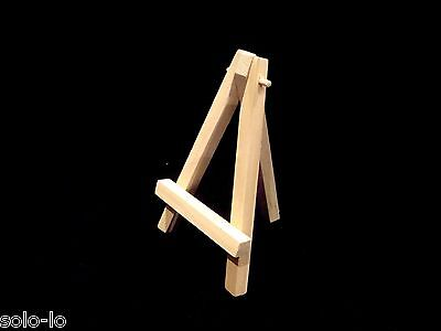 BULK 24 Mini Timber Easel Display Stand With Blank Canvas Board Panel (10x10 cm)