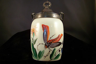 Victorian English Bristol Opaque Hand Painted Cracker Jar Dragonfly Motif