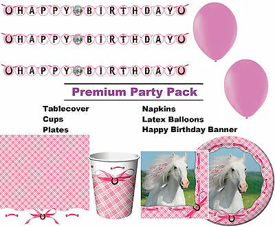Heart My Horse 8-48 Guest Premium Party Pack - Tableware | Banner | Balloons