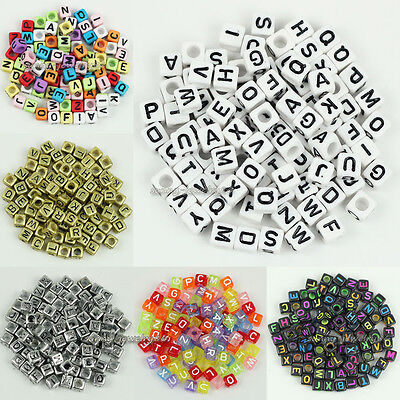 500pcs Mixed Square Cube Acrylic Alphabet Letter Spacer Beads 6x6mm,Pick Color