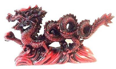 red COLOR Chinese Feng Shui Dragon Figurine Statue for Luck & Success 6 inch
