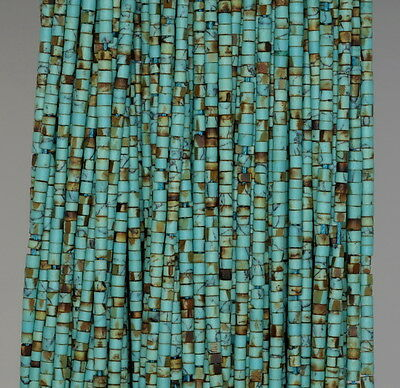 2Mm Turquoise Gemstone Green Brown Round Tube Heishi Loose Beads 12""