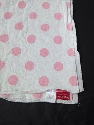 Amy Coe Limited Edition Baby Blanket Receiving Wrap White Pink Polka Dots