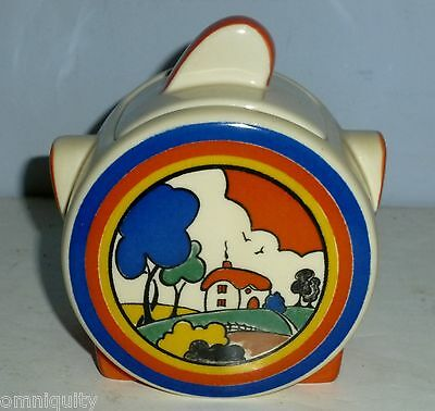 Art Deco Huntley Cottage Sugar Pot - Clarice Cliff By Moorland