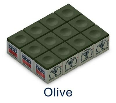 OLIVE - SILVER CUP BILLIARD CHALK - 1Dz/12 pieces - FREE SHIPPING!