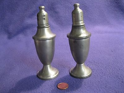 Vintage Tall Column Pewter Salt and Pepper Shakers Web Clear Glass Sleeve     37