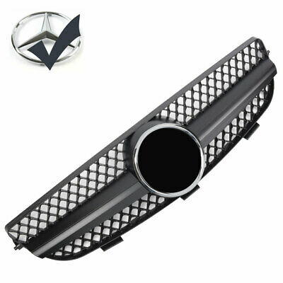 1 Fin Sport Piano Black Mesh Gril Front Grill for Mercedes Benz W209 CLK
