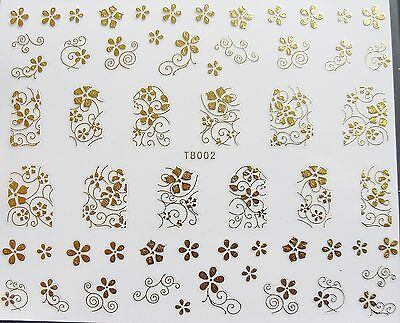 Nail Art 'Gold Lace Swirls Leaf Flowers' Self Adhesive Wrap Sticker Decals 002