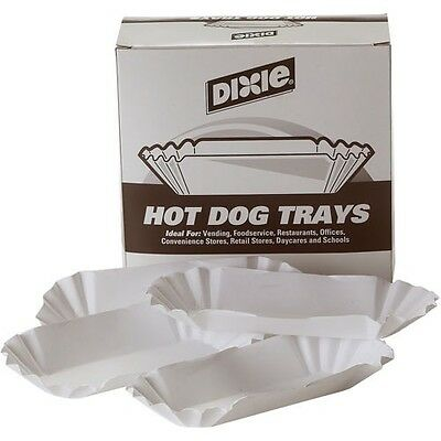 "Dixie 8"" Hot Dog Food Tray, 500 ct (HD84) Dixie 8"" Fluted Hot Dog Food Trays"