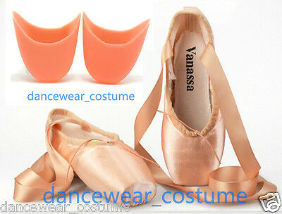 NEW Ladies Professional Satin Ballet Pointe Shoes + Gel Silicone Toe Pads Pink