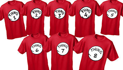 Dr Seuss Cat In The Hat Thing1,2,3,4,5 And6 T-Shirt Xs-Xl(Children) S-Xxl(Adult)