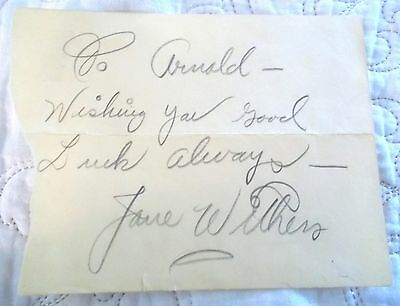 Jane Withers Personally Inscribed Autograph on Scrap of Paper