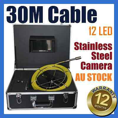 30M Snake Cable Under Water Sewer Drain Pipe Wall Inspection Endoscope Camera